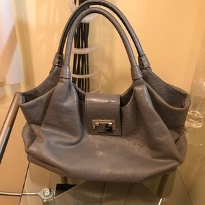 KATE SPADE ostrich print Leather Shoulder Bag Grey
